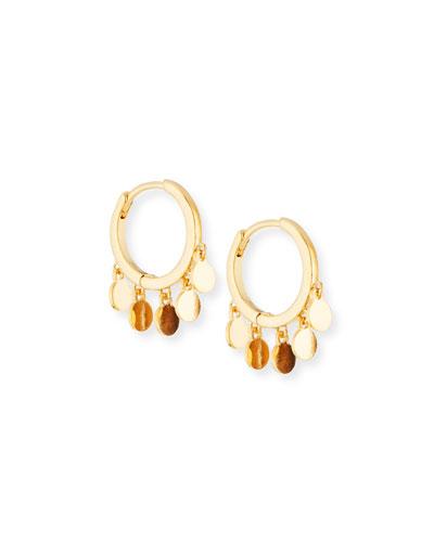 Huggie Hoop Earrings w/ Coin Drops