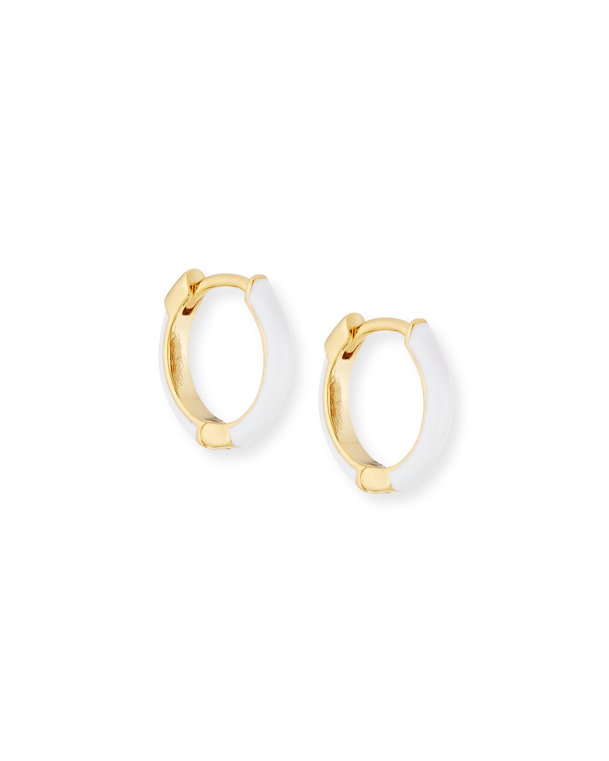 Enamel Huggie Hoop Earrings White