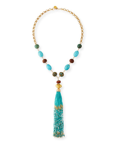 Turquoise & Seed Bead Tassel Necklace
