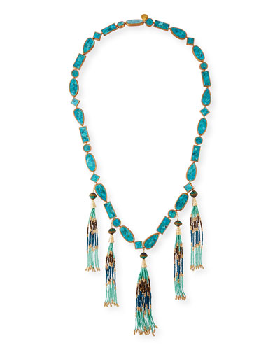 Long Multi-Tassel Turquoise Necklace