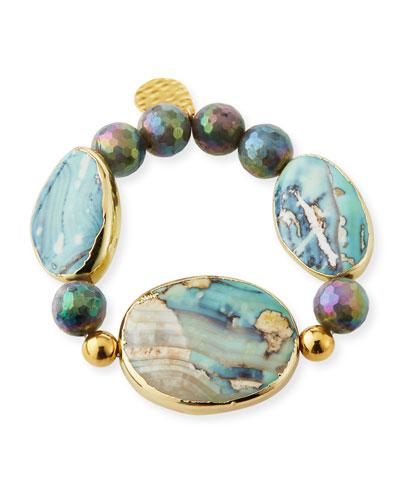 Multihued Stone & Bead Bracelet