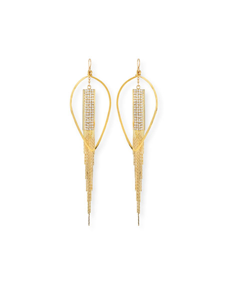 Devon Leigh Teardrop & Crystal Chain Earrings