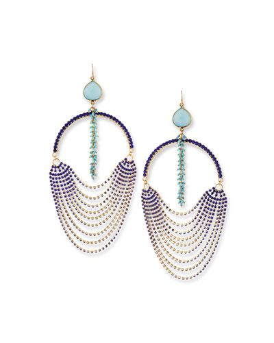 Blue Ombre Oversized Crystal Earrings