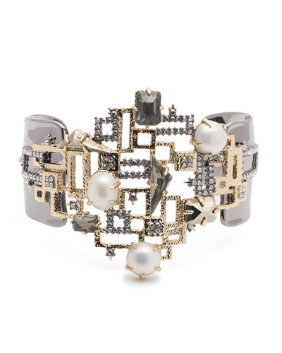 Brutalist Studded Pearly Bracelet