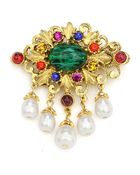Multicolor Crystal & Pearly Brooch