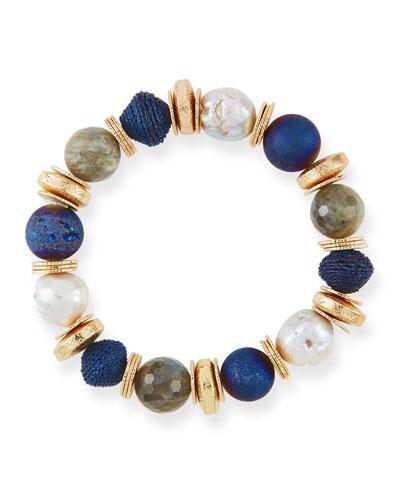 Stone & Disc Stretch Bead  Bracelet