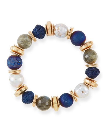 AKOLA Stone & Disc Stretch Bead Bracelet in Blue