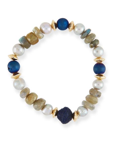 AKOLA Stone & Disc Thin Stretch Bead Bracelet in Blue