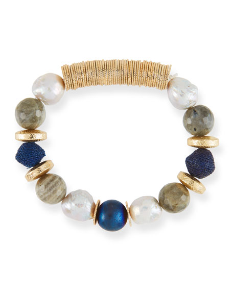 AKOLA Stone & Disc Chunky Stretch Bead Bracelet in Blue