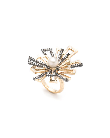 Brutalist Pearl Ring w/ Crystals