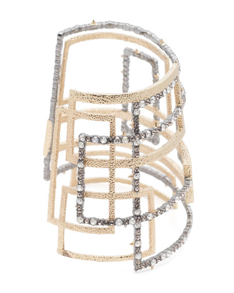 Brutalist Crystal Encrusted Wide Cuff Bracelet