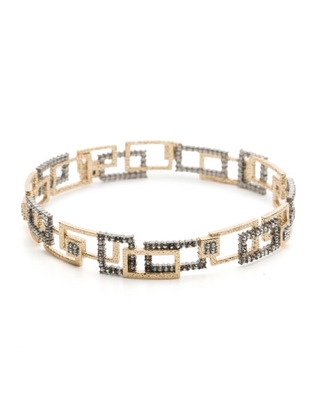 Brutalist Crystal Encrusted Bangle Bracelet
