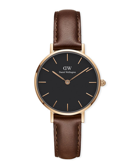 28Mm Classic Petite St Mawes Watch W/ Leather Strap, Black in Brown/ Black / Rose Gold