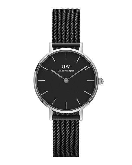 DANIEL WELLINGTON 28Mm Classic Petite Ashfield Watch W/ Mesh Strap in Black / Silver