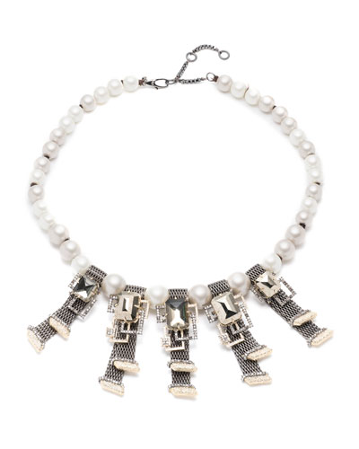 Brutalist Chain Mesh Pearl Necklace