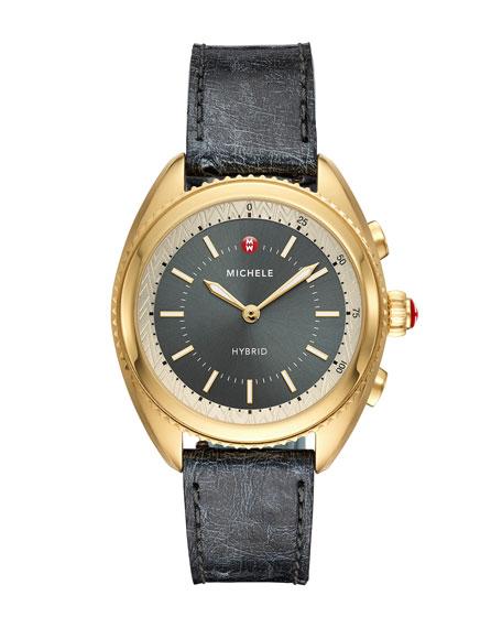 MICHELE 38mm Hybrid Smartwatch w/ Ostrich Strap, Gold/Gray