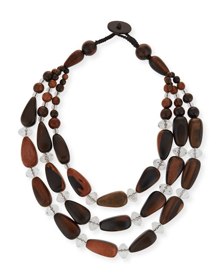 VIKTORIA HAYMAN Triple-Strand Crystal & Wood Necklace in Silver
