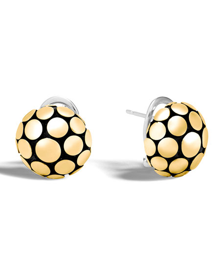 John Hardy Dot Gold/Silver Domed Stud Earrings