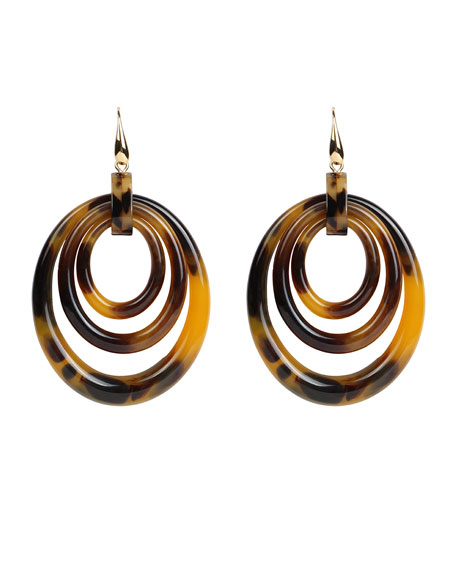 Multi-Circle Drop Earrings, Tortoise