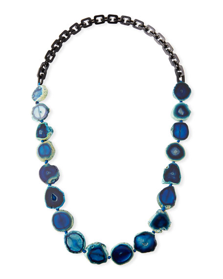 NEST JEWELRY Long Dark Horn & Blue Agate Necklace