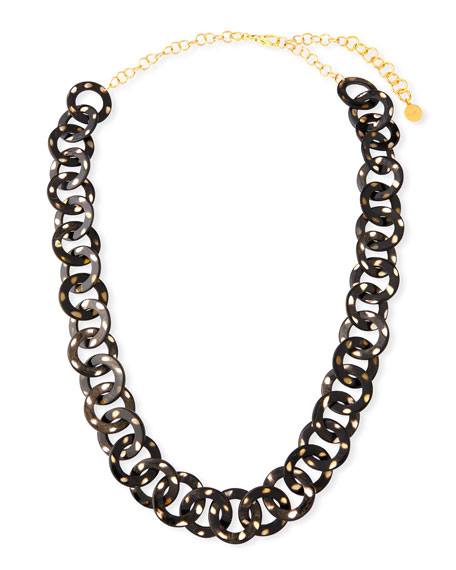 NEST JEWELRY Long Horn Circle-Link Necklace in Animal Print