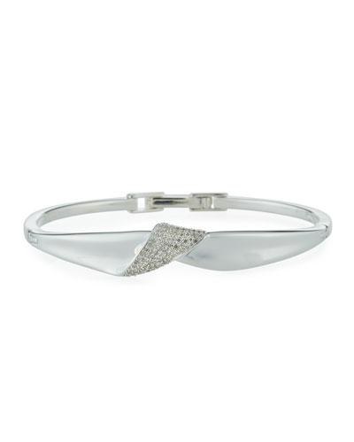 Classico Stardust Silver Folded Bangle Bracelet w/ Diamonds