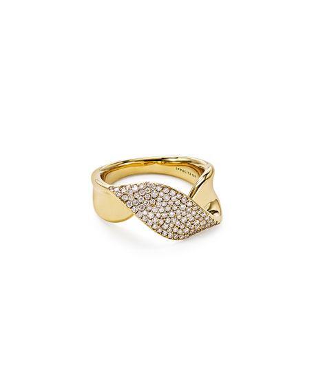 18k Gold Stardust Twist Ribbon Ring w/ Diamonds