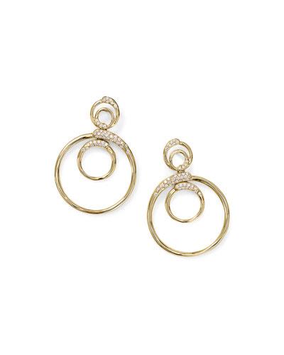 18k Gold Stardust Triple Circle Snowman Earrings w/ Diamonds