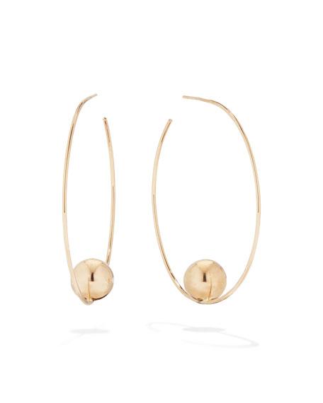 14K Gold Bead Hoop Earrings, 45Mm