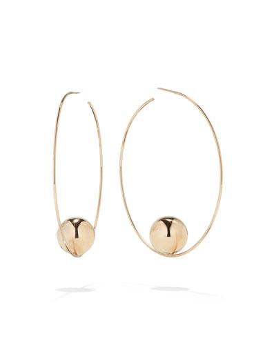 14k Gold Bead Hoop Earrings, 60mm