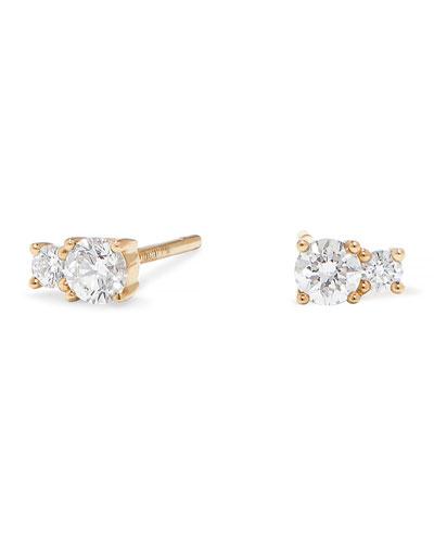 14k Gold Double-Diamond Stud Earrings