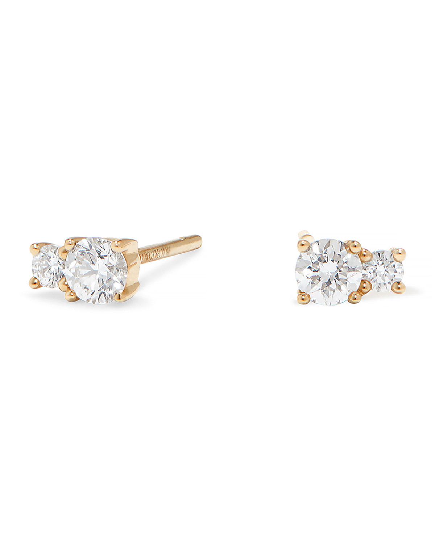 14k Gold Double Diamond Stud Earrings