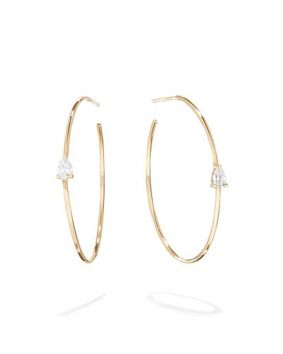 Magic  14k Gold Diamond Pear Hoop Earrings