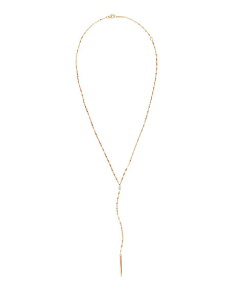 Lana 14K GOLD PEAR DIAMOND Y-DROP NECKLACE