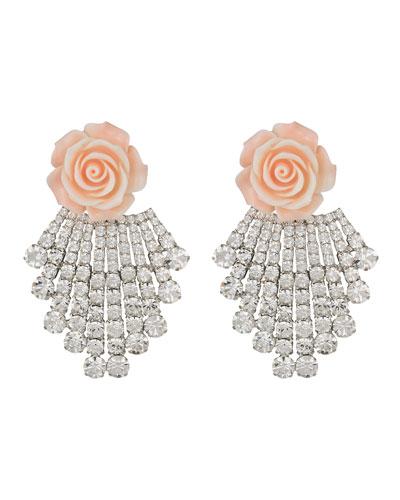 Rose & Crystal Clip-On Earrings