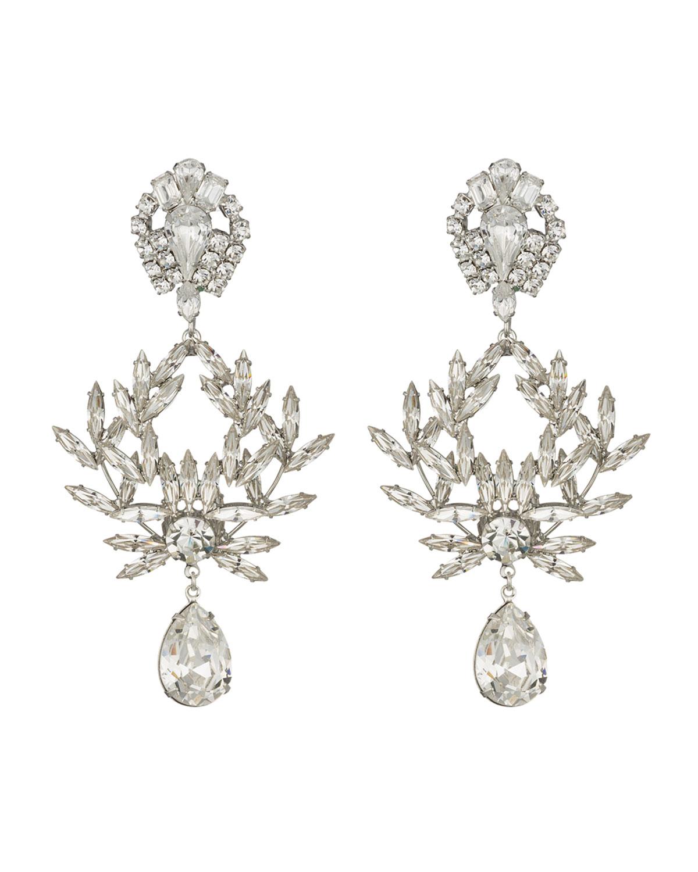 Dannijo Clover Crystal Clip-On Earrings | Neiman Marcus