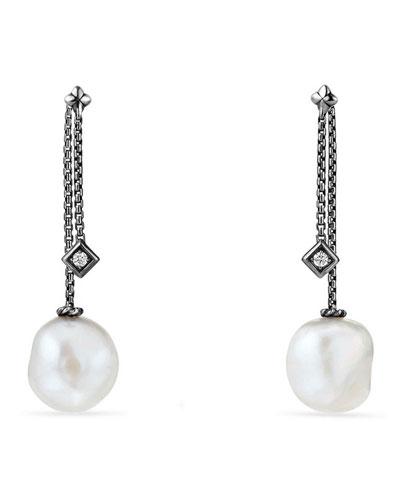 Solari Silver Freshwater Pearl & Diamond Drop Earrings