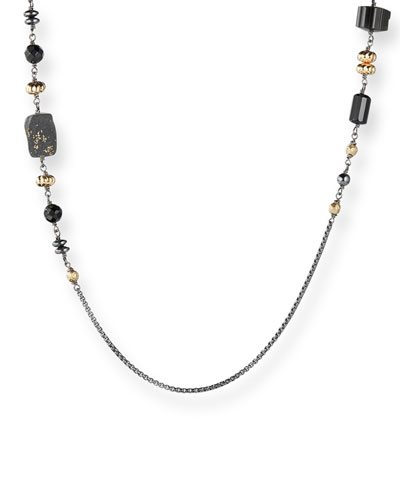 Long Chain & Bead Station Necklace, Black
