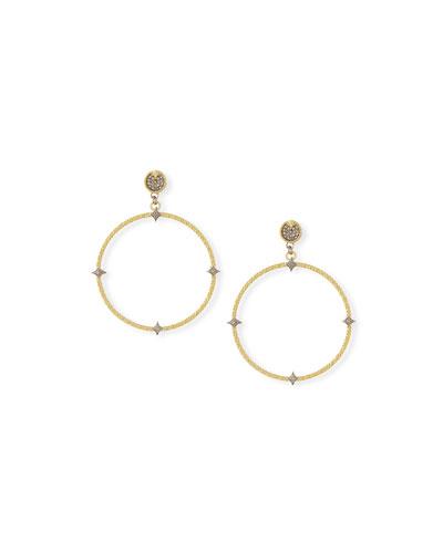 Old World 18k Diamond Hoop Drop Earrings