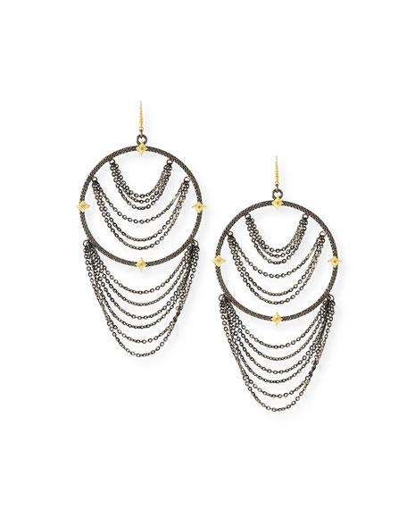 Armenta Old World Diamond Hoop Chain Earrings