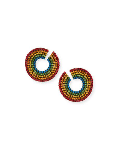 AUDEN Rainbow Crystal Curler Stud Earrings in Multi