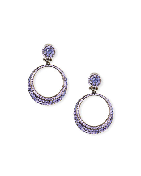 JOSE & MARIA BARRERA Pave Hoop Clip Earrings in Lavender