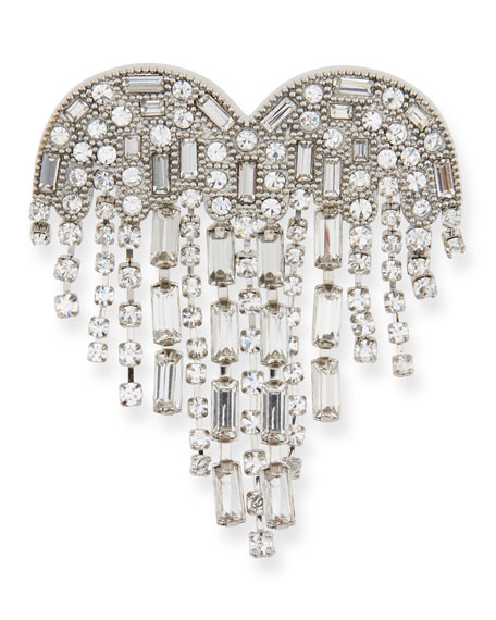 Crystal Waterfall Heart Pin