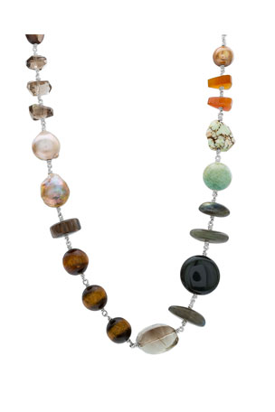 Stephen Dweck Multicolor-Stone & Pearl Necklace