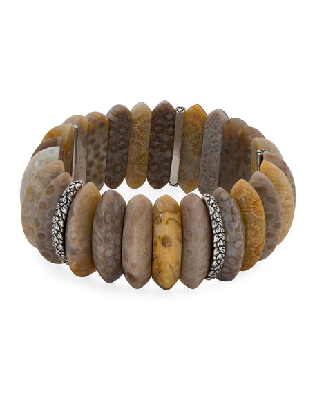 Stephen Dweck Fossil Coral Marquise Stretch Bracelet