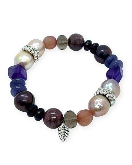 Stephen Dweck Mixed-Stone & Pearl Stretch Bracelet
