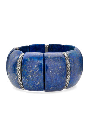 Stephen Dweck Lapis & Flower Stretch Bracelet