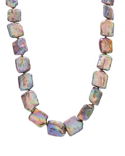 Dark Champagne Square Pearl Necklace