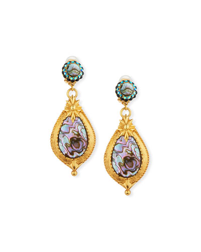 Abalone Teardrop Clip-On Dangle Earrings