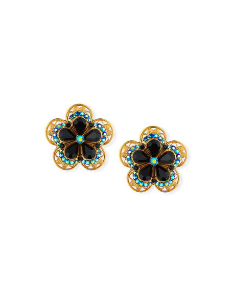 Jose & Maria Barrera Crystal Flower Button Clip-On